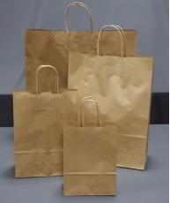 Bolsa de papel con asa retorcida 18x25x8 Kraft Verjurado
