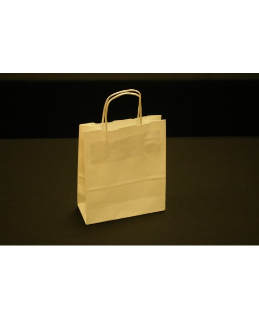Bolsa de papel con asa retorcida, color Beis