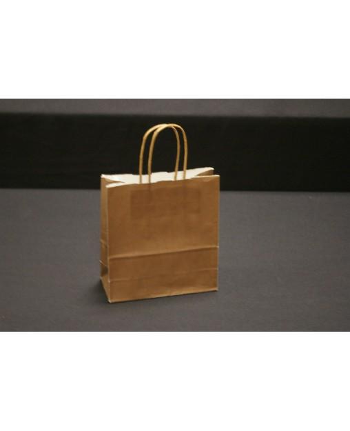 Bolsa de papel con asa retorcida, color Marrón Chocolate.