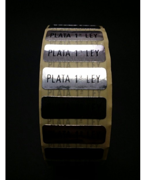 """Etiquetas adhesivas """"Plata 1ª Ley"""" Rectángular."""