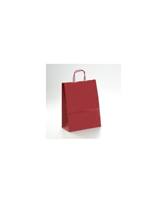 Bolsa de papel con asa retorcida, color Granate.